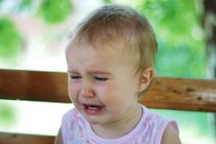 Crying baby. A little cute babi is crying with tears Stock Photo