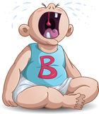 Crying Baby. A baby crying with the letter B on his shirt stock illustration
