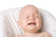 Crying baby. A portrait of a crying baby, isolated Royalty Free Stock Photography