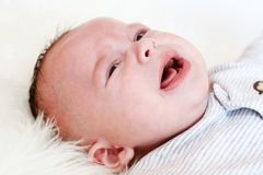 Crying baby age of 3 months Royalty Free Stock Photography