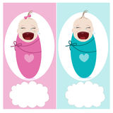 Crying baby with baby, boy, girl vector greeting Stock Images