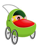 Crying baby in baby carriage Royalty Free Stock Images