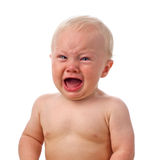 Crying baby boy stock photos