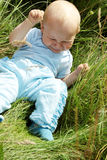 Crying baby boy outdoors Stock Images