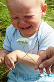 Crying baby boy outdoors Royalty Free Stock Photo