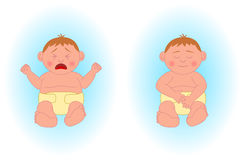 Crying baby boy, sleeping baby boy Royalty Free Stock Photos