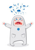 Crying Baby. Child in a costume crying. Cartoon illustration royalty free illustration