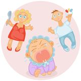 Crying baby. Cute baby  toddler screaming and bursting with tears and worried parents Royalty Free Stock Image