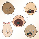 Crying Baby Faces Stock Images
