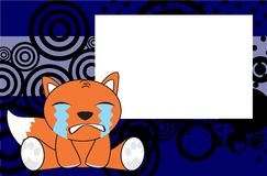 Crying baby fox expressions cartoon background Stock Image