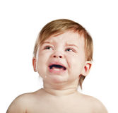 Crying baby girl isolated Royalty Free Stock Photo