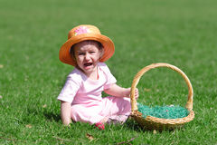 Crying baby on the meadow Royalty Free Stock Images