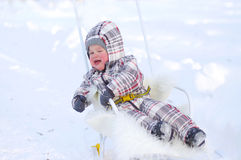 Crying baby on sledge in winter Stock Photography