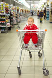 Crying baby in supermarket. Close up of crying baby in supermarket Royalty Free Stock Photography