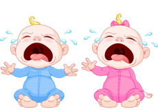 Crying baby twins Stock Photo