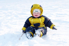 Crying baby in winter outdoors Royalty Free Stock Images
