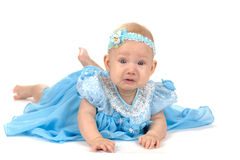 Crying babygirl. Crying adorable babygirl wearing holyday blue dress isolated on white Royalty Free Stock Image