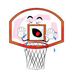 Crying Basketball hoop cartoon Stock Images