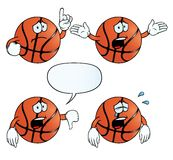 Crying basketball set. Collection of crying basketballs with various gestures Stock Photo