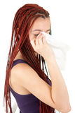 Crying beautiful girl with tissue Royalty Free Stock Photography