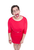 Crying beautiful plus size woman in glasses isolated Stock Photography