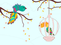 Crying birds in a cage.  illustration. Stock Photo