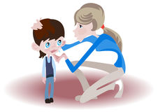 Crying boy. Young babysitter gently comforting a crying child Stock Image