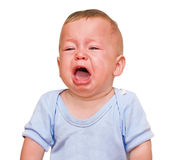 The crying boy. On  white background Royalty Free Stock Image
