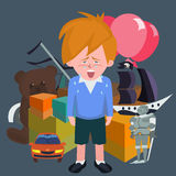 Crying boy against pile of children`s gifts vector cartoon Royalty Free Stock Image