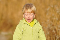 Crying boy portrait Stock Photography