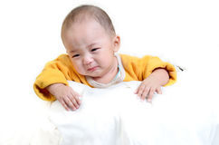 Crying boy, on white background Stock Photo
