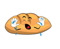 Crying bread cartoon Stock Image