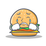 Crying burger character fast food Royalty Free Stock Images