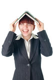 Crying business woman with notebook on the head Stock Photos