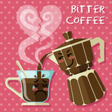 Crying cartoon on coffee cup and aluminum Espresso coffee maker Stock Image