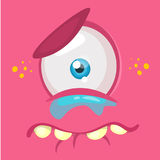 Crying cartoon monster face avatar. Vector Halloween pink sad monster with one eye. Stock Images