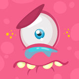 Crying cartoon monster face. Vector Halloween pink sad monster with one eye. Stock Images