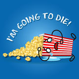 Crying cartoon on popcorn box spilling popcorn Royalty Free Stock Photography