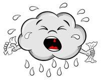 Crying cartoon rain cloud Royalty Free Stock Photos