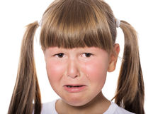 Crying child. Crying aloud child with moody face isolated Stock Photos
