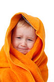Crying child after bath stock images