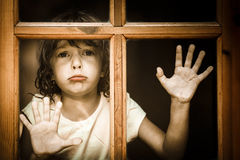 Crying child. Sad and crying child at home Royalty Free Stock Photos