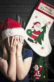 Crying christmas child Royalty Free Stock Photography