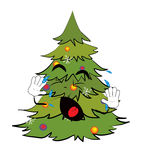 Crying Christmas tree cartoon Royalty Free Stock Image