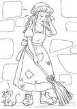 Crying cinderella. Coloring page with sad cinderella and mouse Stock Photo