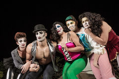 Crying Cirque Clowns. Group of crying cirque clowns on stage Royalty Free Stock Photography