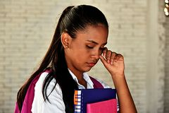 Crying Colombian School Girl Teenager royalty free stock photo