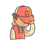 Crying Covering Face Boy In Cap And College Jacket Hand Drawn Emoji Cool Outlined Portrait. Part Of Funky Flat Vector Sticker Series With Teenager Different Stock Photography