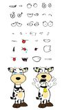 Crying Cow cartoon expressions set Stock Images