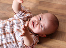 Crying cute baby Stock Image